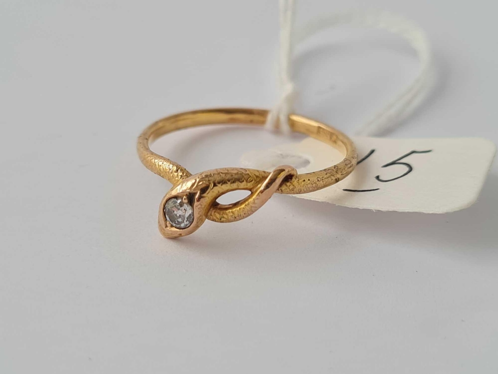 A diamond set 14ct gold snake ring size R 2.2g inc - Image 2 of 2