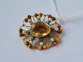 Antique citrine, pearl & turquoise gold brooch 4.7g inc