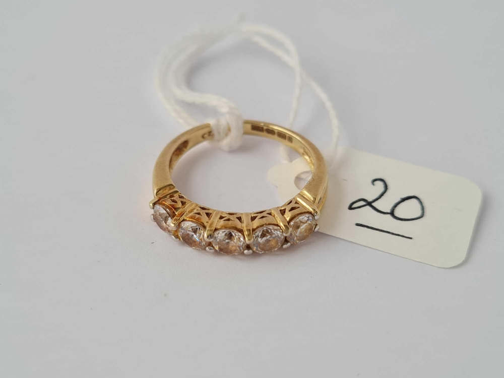 A 9ct 5 stone ring size K 2.9g inc