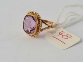 A amethyst ring 9ct size M - 4.5 gms