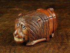 A Quirky 19th Century Coquilla Nut Snuff Box carved in the form of a dumpy,