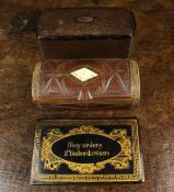 Three 19th Century Snuff Boxes: One of oblong form with rounded ends having a tortoiseshell