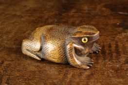 An Early 19th Century Carved Fruitwood Snuff Box in the form of a Toad with intricate punchwork