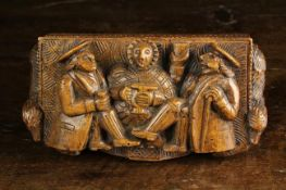 A 19th Century Scottish Carved Treen Table Snuff purported to have been carved by The Blind Man of