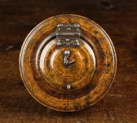 A Rare 18th Century Concertina Folding Paper Lantern in a round turned Burr figured case of rich