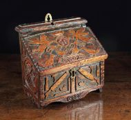 A Charming Early 18th Century Oak Wall Hanging Salt or Candle Box of boarded construction.