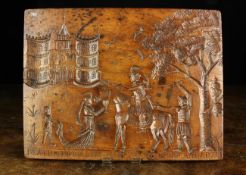 """A Fabulous Early 18th Century Fruitwood Panel carved in sunken relief with depiction of """"The Death"""