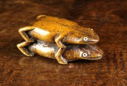 An Unusual 18th/Early 19th Century Carved Fruitwood Mating Frogs Snuff Box.