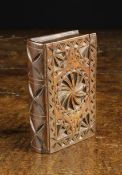 An Early 19th Century Welsh Chip Carved Cherry Wood Snuff Box in the form of a book,