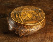 A Fabulous 19th Century Scottish Root Wood Mauchline Ware Table Snuff.