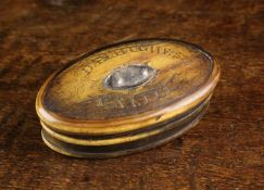 An Early 19th Century Welsh Horn Snuff Box of oval form.