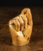 A Nicely Carved Treen 'Pinch of Snuff' Snuff Box of fine colour and patination.
