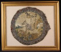 A 17th Century Embroidered Silkwork Roundel depicting Christ Risen,