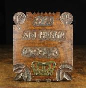 """A Primitive Welsh Wooden Panel inscribed """"1614 AM HYNNU GWYLIA"""" (translated as """"for that beware"""")"""