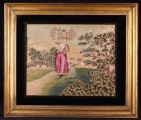 A Charming Early 19th Century Embroidery worked in coloured wools on a painted silk ground.