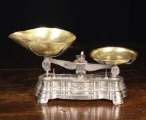 """A Pair of Vintage French Cast Iron & Brass Kitchen Scales (""""To weigh 1lb Class II""""),"""