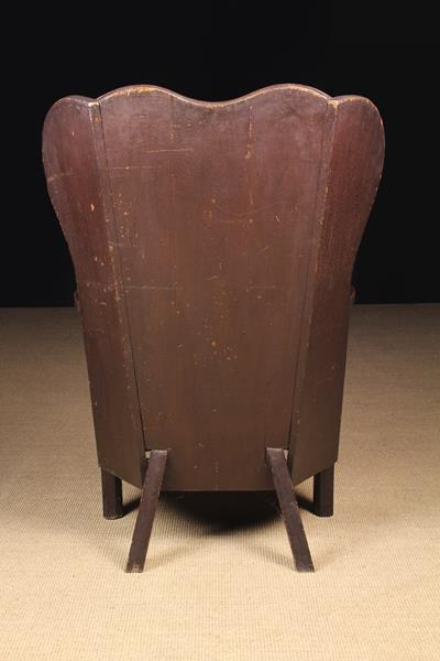 A Fabulous 19th Century Painted Pine and Oak Wing-back Country Armchair attributed to - Image 3 of 3