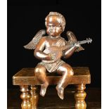 A 19th Century Carving of a Cherubic Musician depicted with finely detailed wings sat playing a
