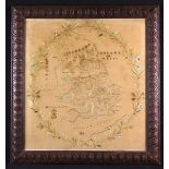 A 19th Century Silkwork Map of Great Britain; The counties outlined in silk embroidered borders,