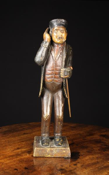 A 19th Century Polychromed Wood Carving of a Man wearing a beret, jacket, waistcoat and trousers, - Image 2 of 4