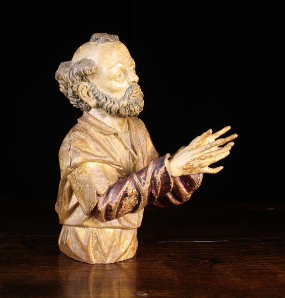 """A 16th/17th Century Polychromed Wood Carving: Bust of Saint Joseph 15½"""" (39 cm) in height. - Image 2 of 4"""