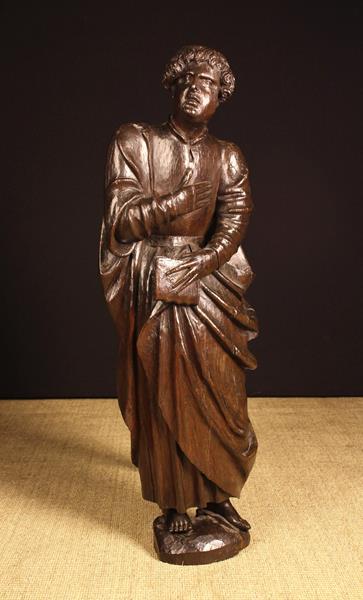 A 16th Century Oak Carving of Saint John. - Image 2 of 2