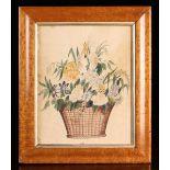 A Delightful 19th Century Folk Art Watercolour of a basket of flowers in a birds-eye maple frame,