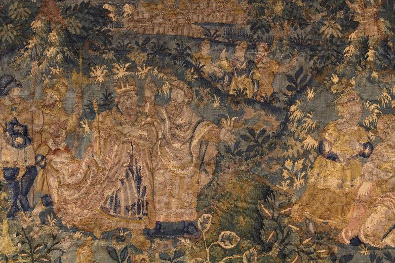 An Early 17th Century Tapestry Fragment Depicting a Royal Gathering in Landscape, - Image 2 of 2