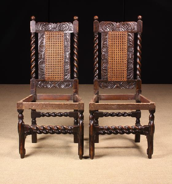 A Rare Pair of Fine Charles II Carved Walnut Chairs, - Image 4 of 4