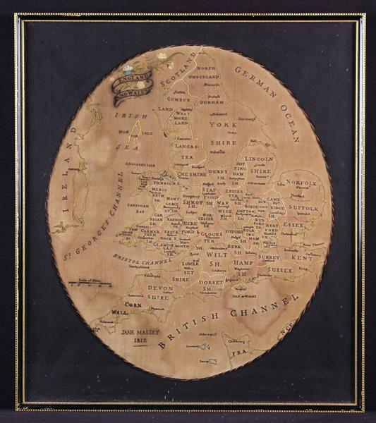 A George III Embroidered Map of England & Wales by Jane Massey 1812,