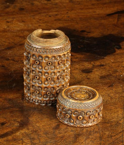 A 19th Century Carved Cocquilla Nut Shaker. - Image 3 of 3