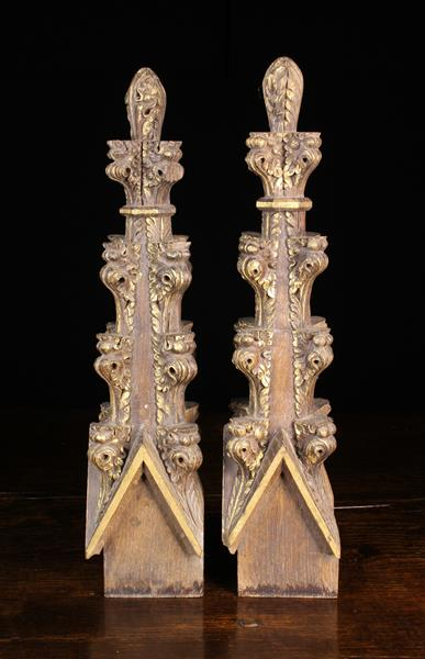 A Pair of Gothic-Revival Carved Oak Finials. - Image 2 of 2
