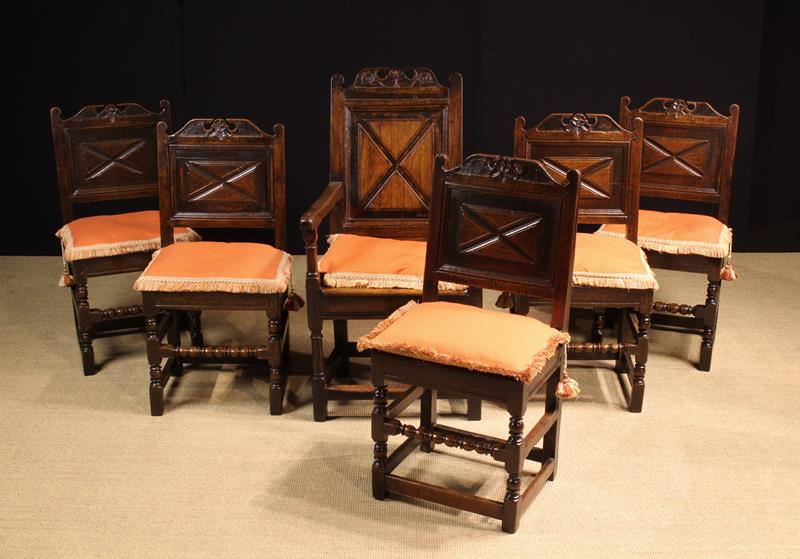 A Fine Set of Charles II Joined Oak Dining Chairs, of rich colour and patination. - Image 2 of 3