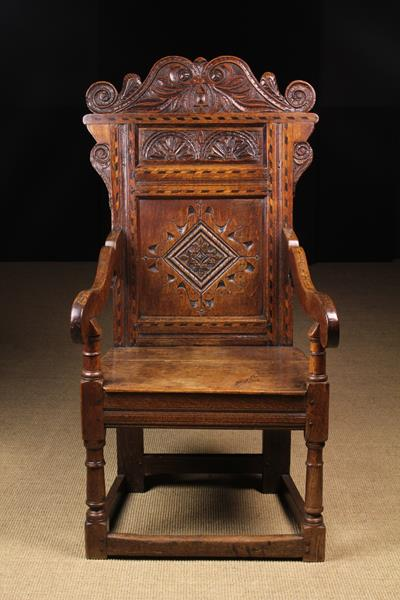 A Late 17th/Early 18th Century Inlaid Oak Wainscot Chair.