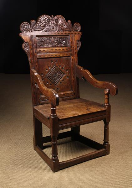 A Late 17th/Early 18th Century Inlaid Oak Wainscot Chair. - Image 2 of 2