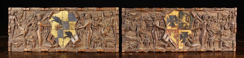 A Fine Pair of Small Late 17th Century Carved Oak Armorial Panels, Circa 1700.