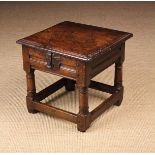 A Fine Mid 17th Century Oak Box Stool of rich colour & patination.