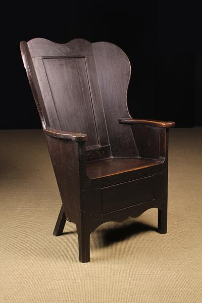 A Fabulous 19th Century Painted Pine and Oak Wing-back Country Armchair attributed to