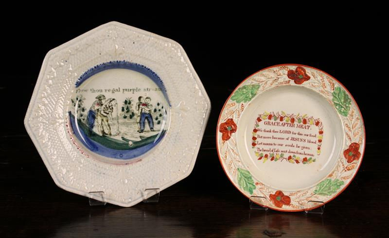 A Small 19th Century Pearlware Child's Plate transfer printed in ironstone red with religious verse