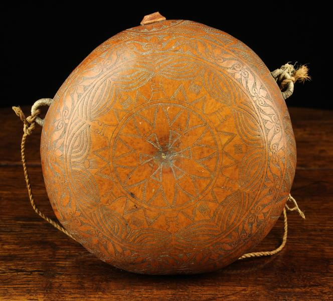 A Gourd Pilgrim Flask of round cushion form engraved with intricate decoration and having a small - Image 3 of 4