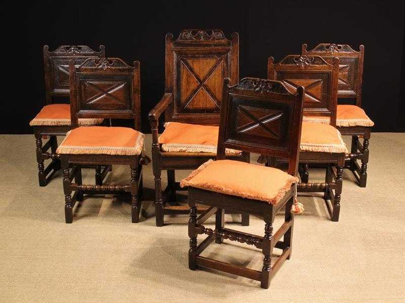 A Fine Set of Charles II Joined Oak Dining Chairs, of rich colour and patination.