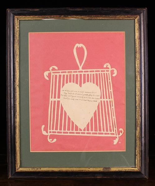 A Late 18th/Early 19th Century Paper-cut Valentine Picture of a Gridiron with heart,