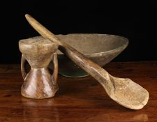A French Antique Dug-Out Treen Garlic Mortar with a bowl to each end,