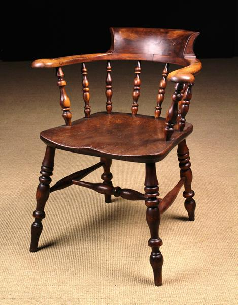 A Handsome 19th Century Yew-wood & Burr Elm Office or Smoker's Bow Windsor Chair,