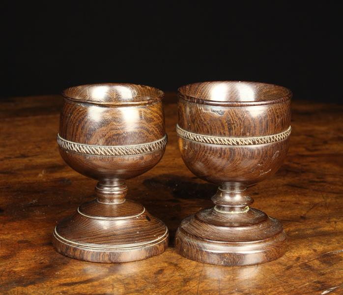 Two Early 19th Century Turned Lignum Salts. - Image 2 of 2