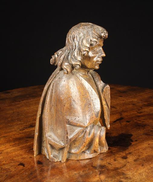 """An Early 16th Century Oak Bust of St John from a retable group, marked with the """"hand"""" of St. - Image 2 of 2"""