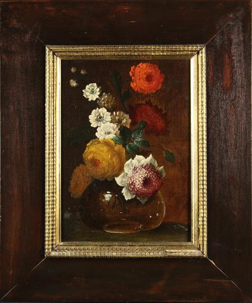 """An 18th Century Oil on Canvas; Still Life depicting a Bowl of Flowers 14"""" x 9¾"""" (36 cm x 25 cm),"""