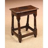 A 17th Century Oak Joint Stool of rich colour and patination.