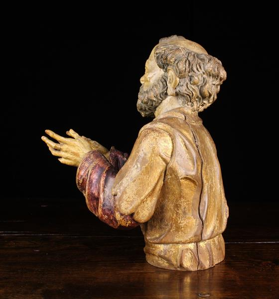 """A 16th/17th Century Polychromed Wood Carving: Bust of Saint Joseph 15½"""" (39 cm) in height. - Image 4 of 4"""