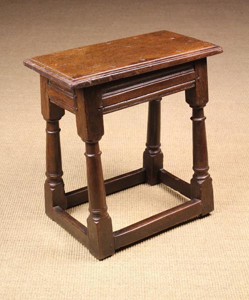 A Fine 17th Century Oak Joint Stool.
